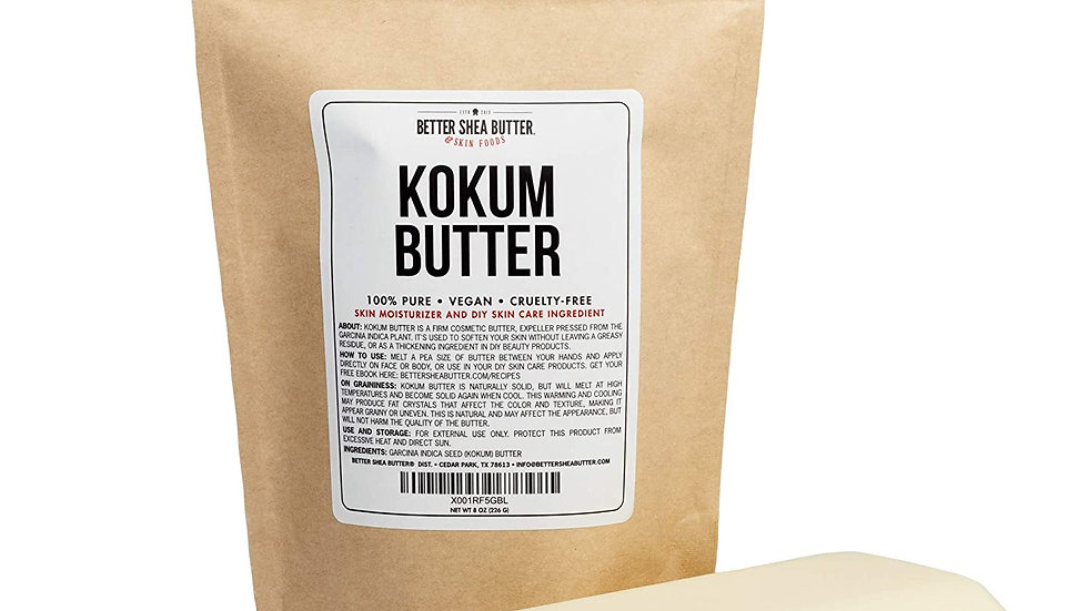 Kokum Butter - Light, Firm Butter, Use to Make Soap, Lotion Bars, Lip Balm, Body