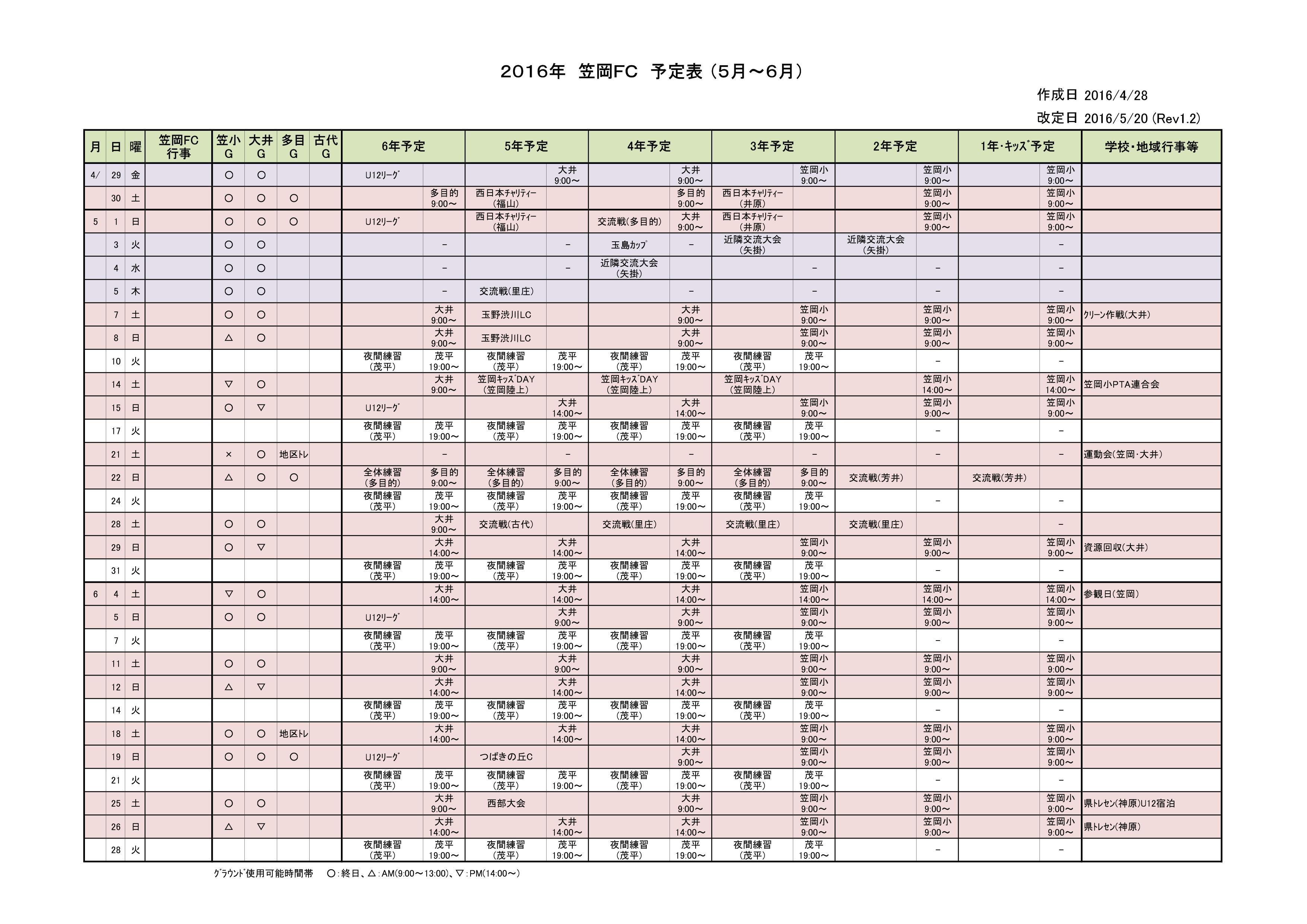 2016年 05~06月予定表