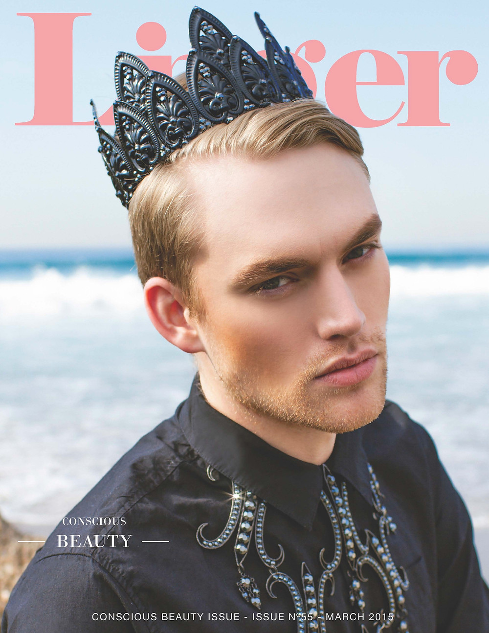 LingerMagazine.com Print Issue Cover of Male Model with Black Crown