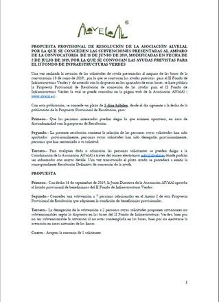 Resolución provisional del II Fondo Infraestructuras Verdes de AlVelAl