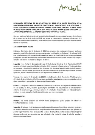 Resolución del II Fondo Infraestructuras Verdes de AlVelAl