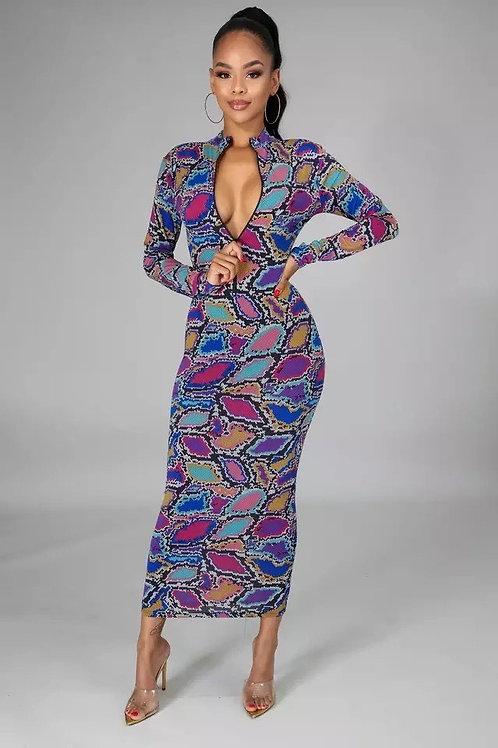 Multicolor Snakeskin Dress