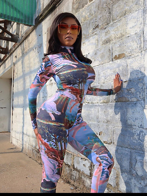 Printed Long Sleeve Sport Jumpsuit