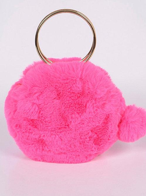 Pink Fur Ball Clutch