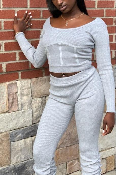 Grey Ribbed Stacked Pants Set