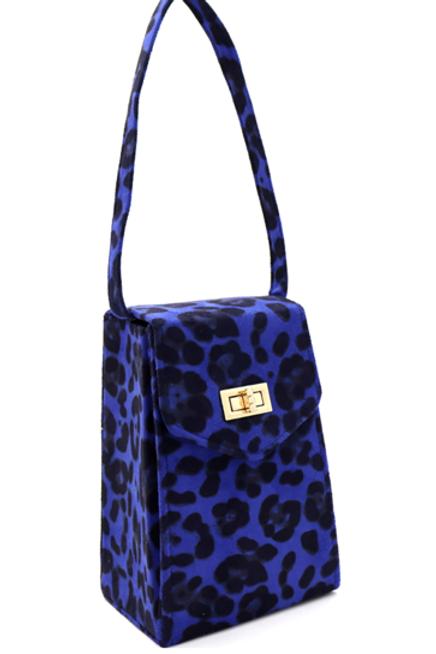 Blue Cheetah Clutch