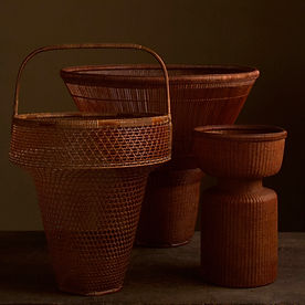 Three Japanese bamboo baskets by Tanabe Chikuunsai II.jpg