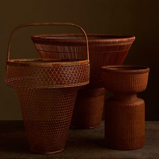 Three Japanese bamboo baskets by Tanabe Chikuunsai II.jpg