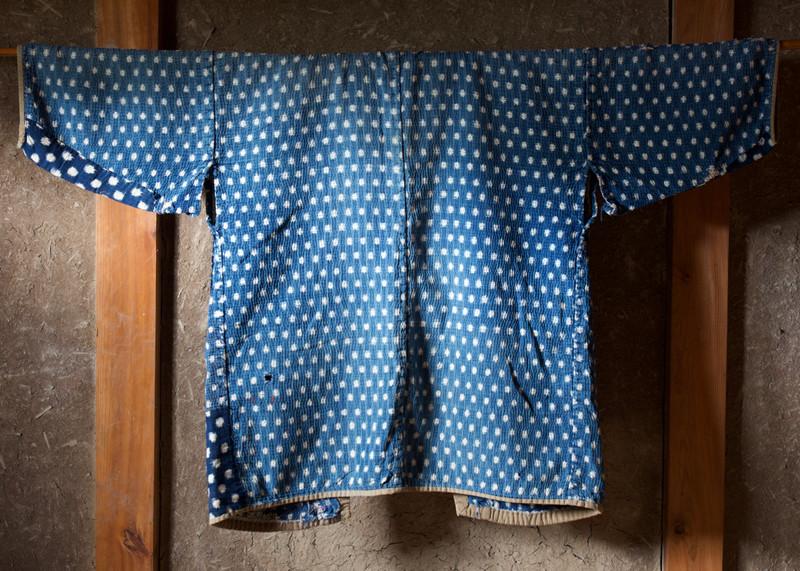 Antique indigo farmer's jacket snowflake design back.jpg