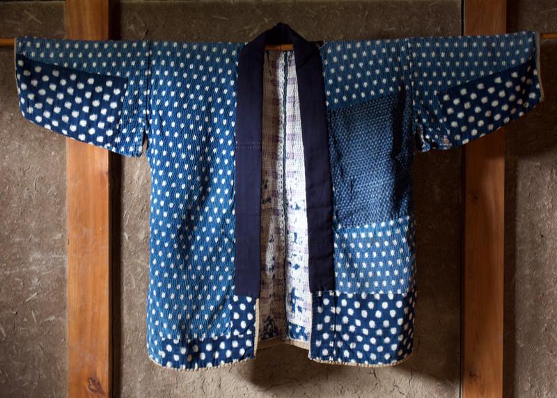 Antique indigo farmer's jacket snowflake design front.jpg