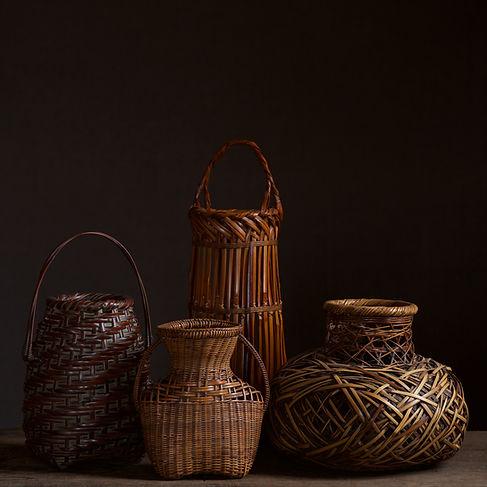 japanese bamboo baskets by uematsu chikuyu, Kadota Niko, and Tanabe Chikuunsai II