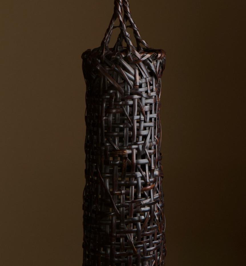 Tanabe chikuunsai I tall purple bamboo basket 04.jpg