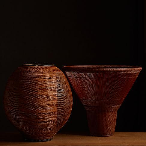 Japanese bamboo baskets by Kibe Seiho and Tanabe Chikuunsai II