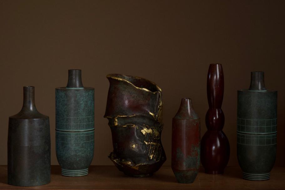 Selection of modern Japanese bronze vases.jpg