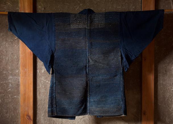 Cotton Indigo Handmade Sakiori Farmer's jacket back.jpg