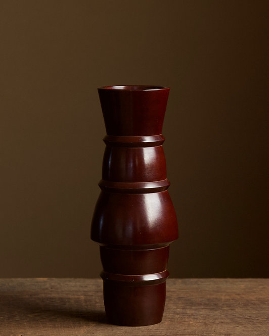 Bronze vase with high-fired lacquer finish by NakajimaYasumi II