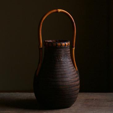 Eggplant-shaped bamboo flower basket by Kosugue Kogetsu.jpg