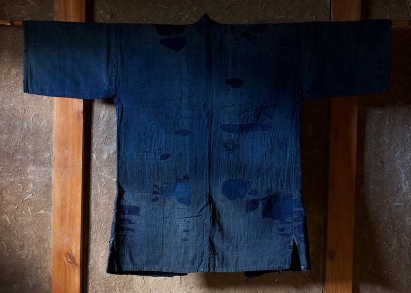 Antique Cotton Indigo Boro Farmer's Jacket Back.jpg