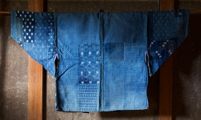 Antique indigo boro farmer's jacket back.jpg