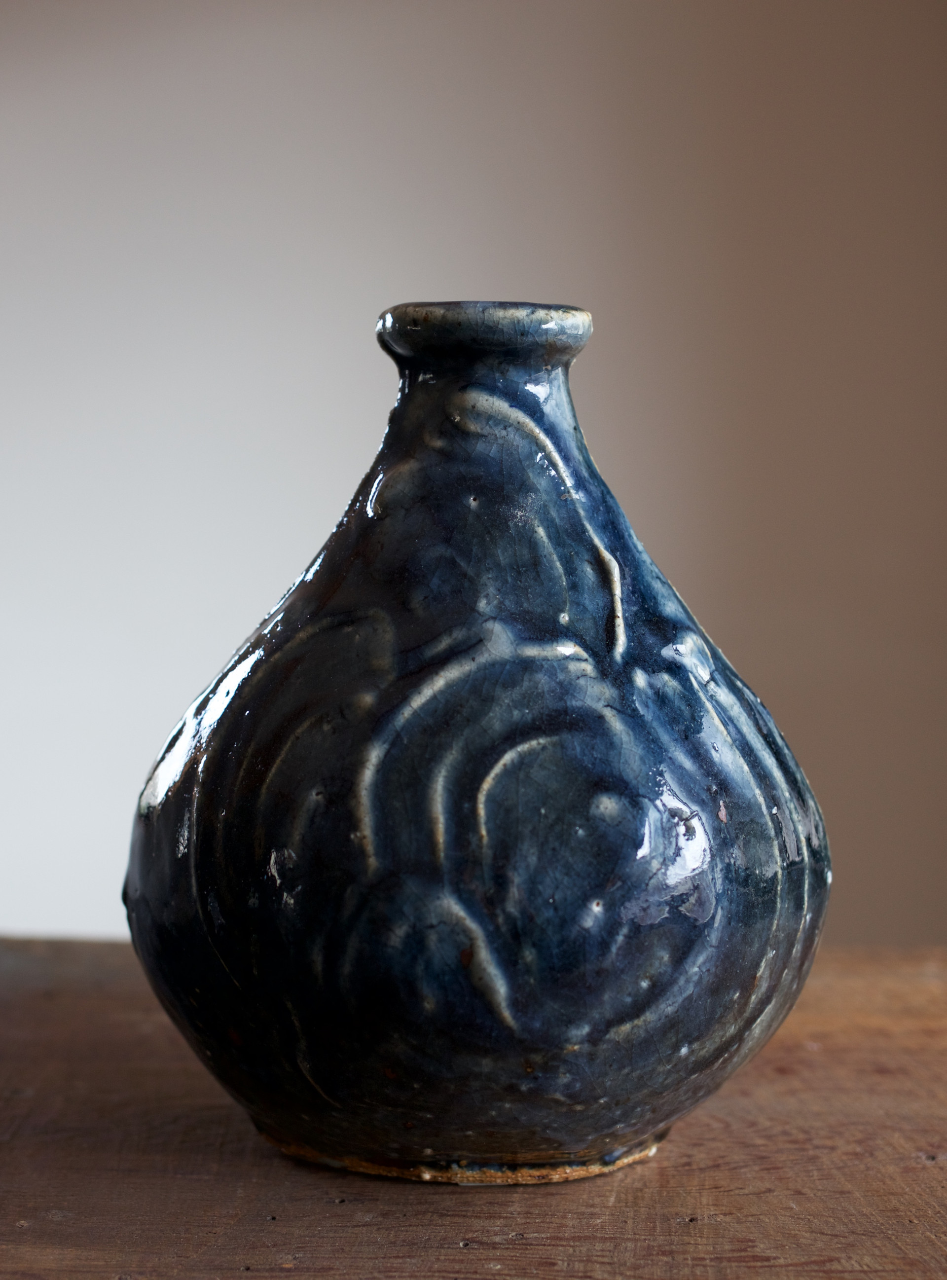 Kawai Kanjior small colbalt/gosu glaze vase.jpg