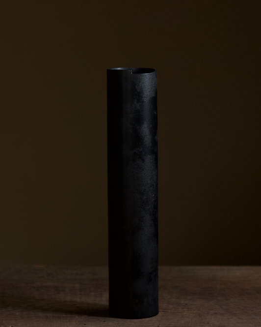 Bronze wall vase with black lacquer finish