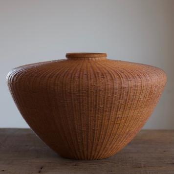 Tsubo-shaped Bamboo Flower basket by Tanabe Chikuunsai II.jpg