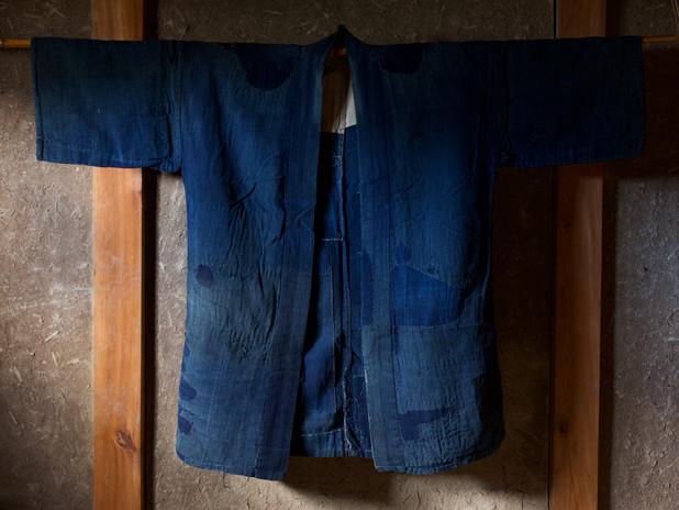 Antique Cotton Indigo Boro Farmer's Jacket Front .jpg