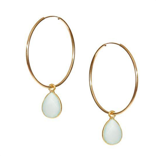 Hide & Stone Chalcedony hoop earrings