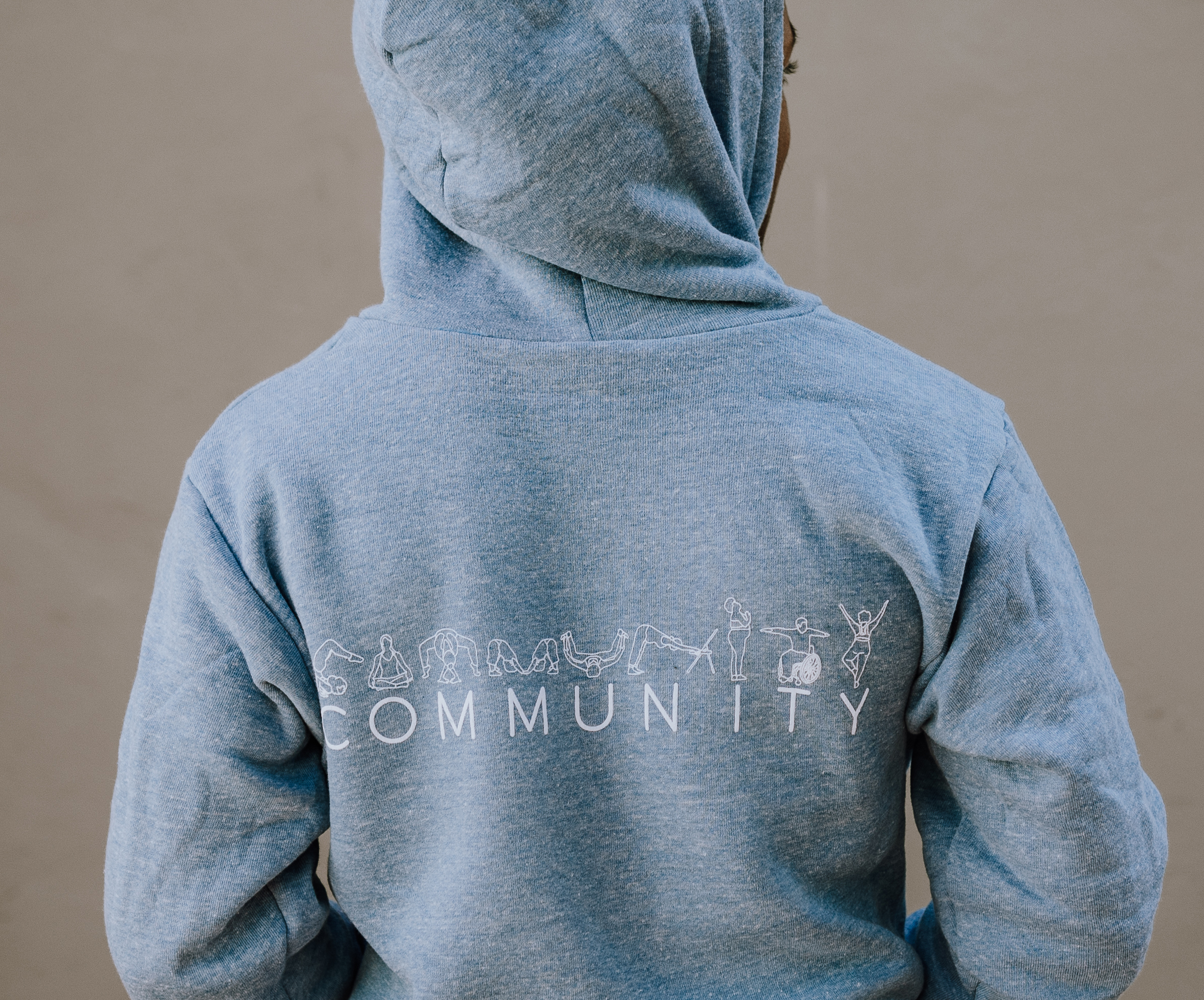 Blue Community Zip Up Hoodie (Back)