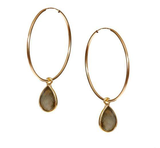 Hide & Stone Labradorite hoop earrings