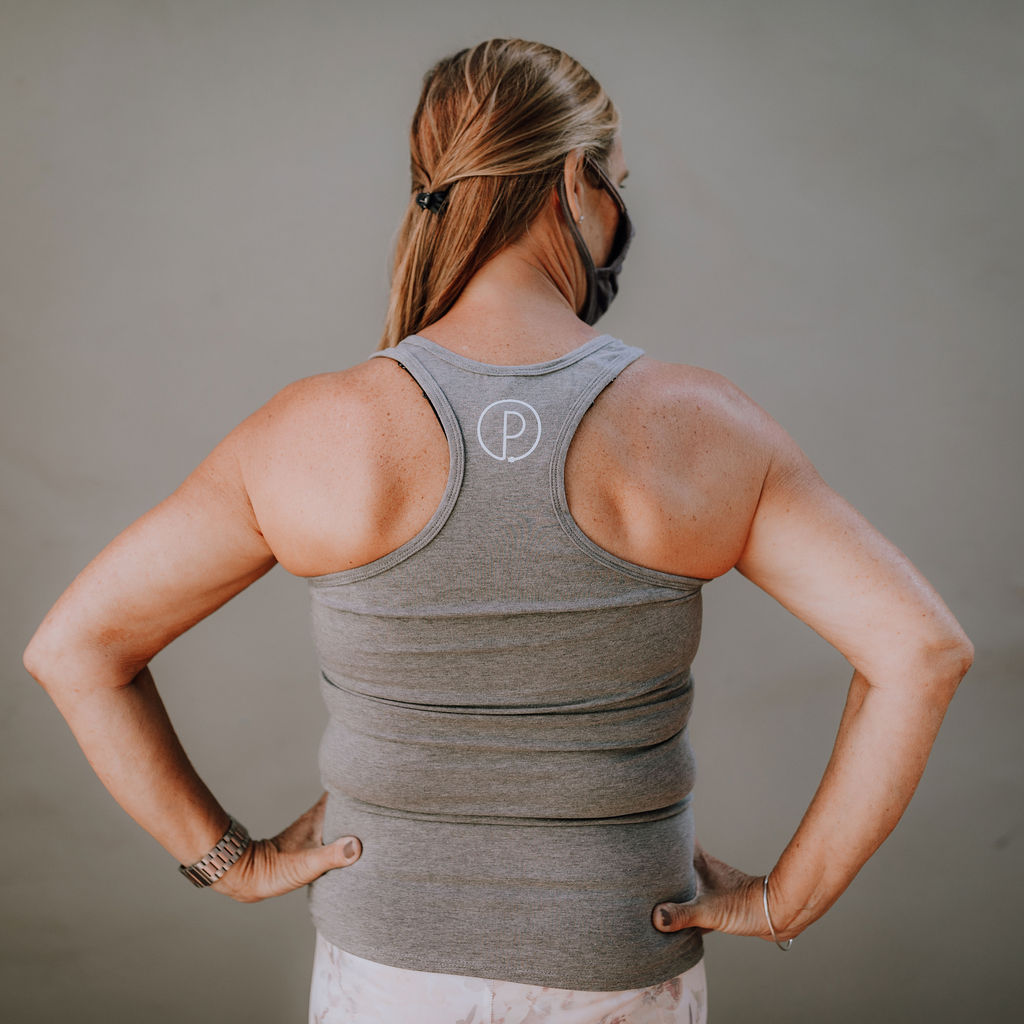"Grey ""All Bodies are Yoga Bodies"" Racerback Tank Top (Back)"