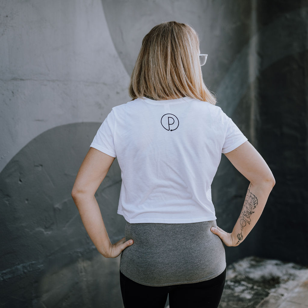 """White """"All Bodies are Yoga Bodies"""" Cropped Tee (Back)"""