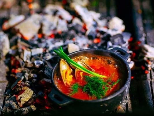 Блюда из морепродуктов на мангале