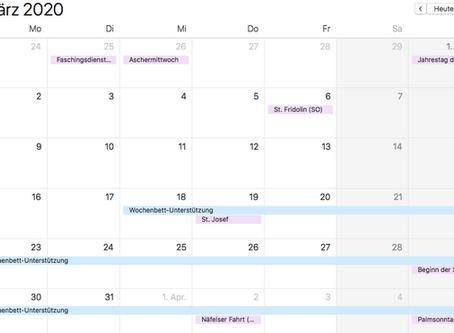 Abwesenheiten März/April