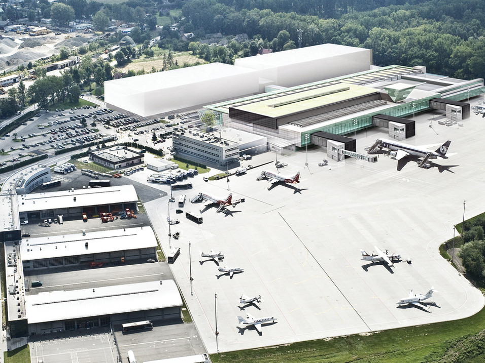 Aerial visualization of the Cracow Airport complex