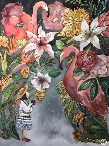 girl birds and flamingo