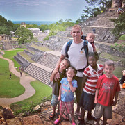 Greg and the kids in Palenque, Mexico