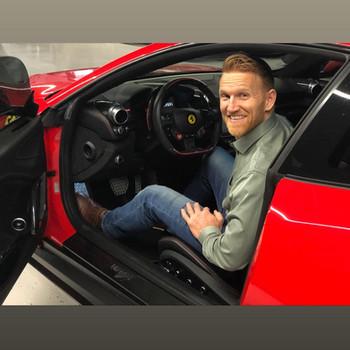 Greg test driving cars