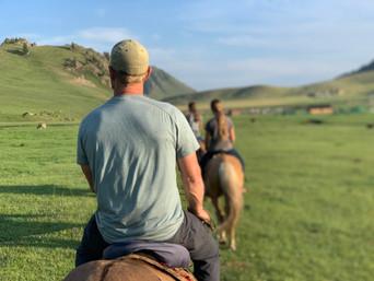 Riding Mongolian horses across the steppe