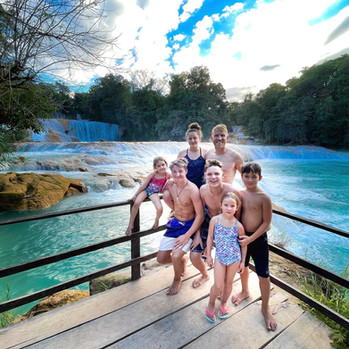 Greg and kids at Agua Azul, Mexico
