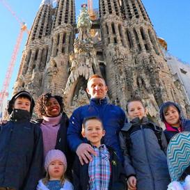 Greg & kids at Sagrada Familia in Barcelona, Spain