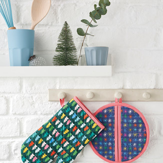 Christmas oven glove and pot holder