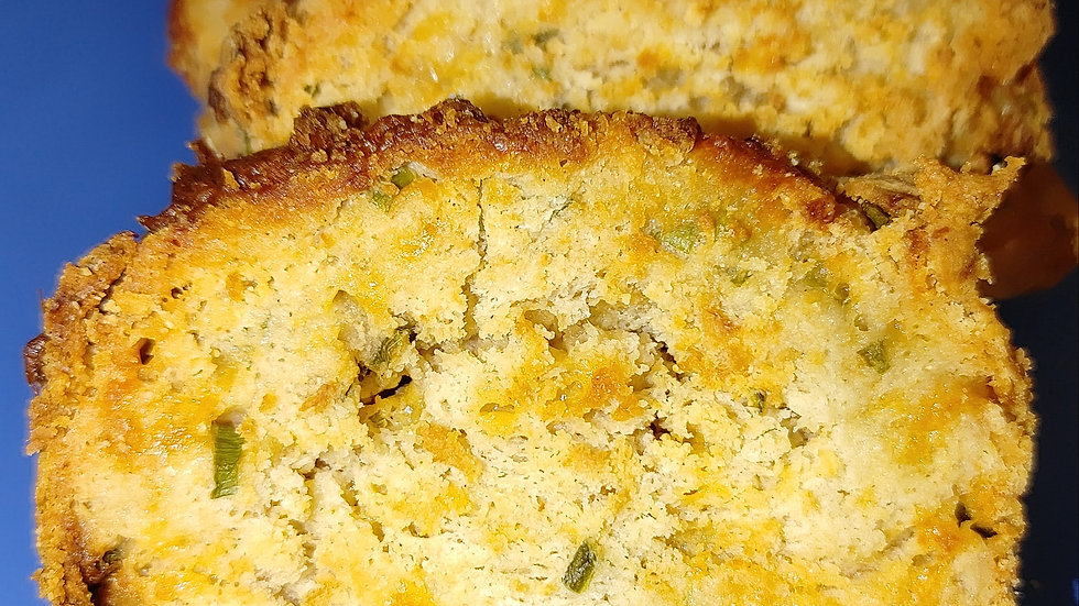 Gluten Free Cheddar Cheese, Green Onion and Jalapeno English Muffin Bread