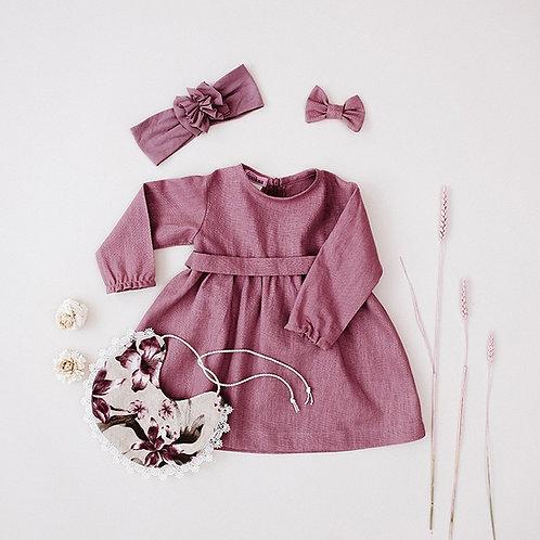 Lino suknelė ilgomis rankovėmis