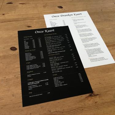 Dubbelzijdige menukaart