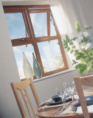 Rehau Total70 Casement Window in Irish Oak w/ Run Through Sash Horns
