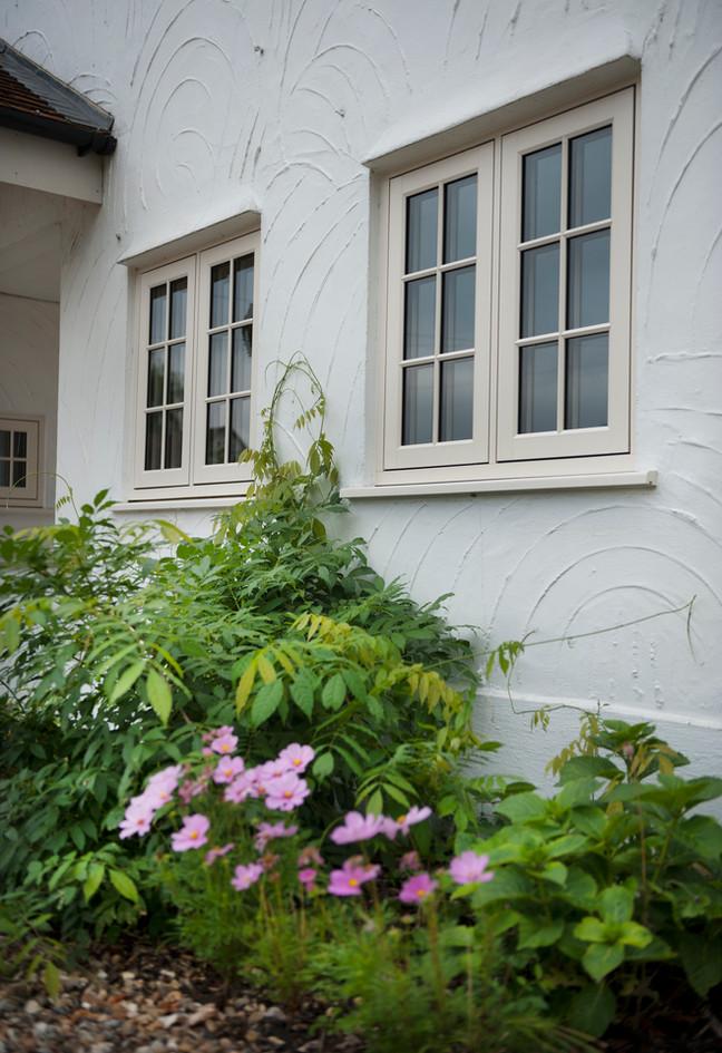 Flush Sash Window w/ Astragal Bars in Clotted Cream