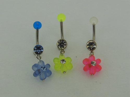 Fancy Plastic Jewelled Navel Flower