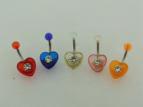 Fancy Plastic Jewelled Navel Heart