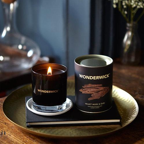 Velvet Musk & Oud Noir Glass Candle WONDERWICK™